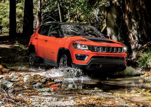 Orange Jeep Compass Driving Through Water